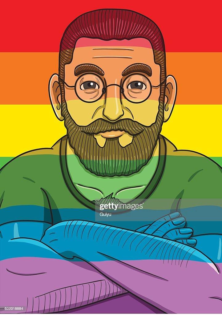 Rainbow LGBT flag and bearded man