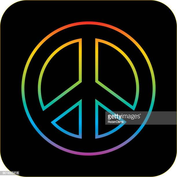 Rainbow Line Peace Sign Icon