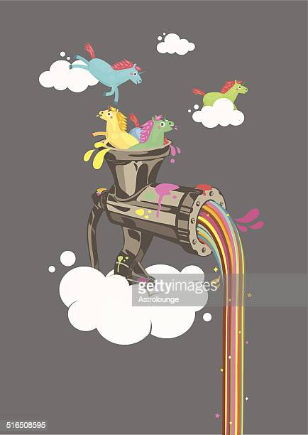 rainbow machine - unicorn stock illustrations