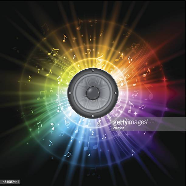 bildbanksillustrationer, clip art samt tecknat material och ikoner med rainbow music speaker design - funky