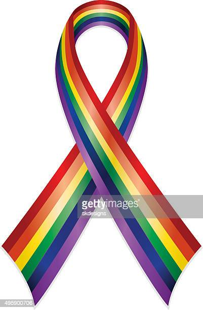 rainbow or gay pride awareness ribbon - marriage equality stock illustrations, clip art, cartoons, & icons