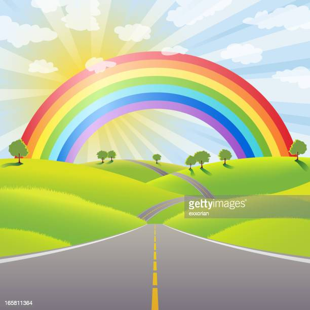 rainbow over the country dividing line - dividing line road marking stock illustrations, clip art, cartoons, & icons
