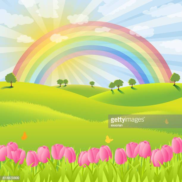 rainbow over the spring nature - rainbow stock illustrations, clip art, cartoons, & icons