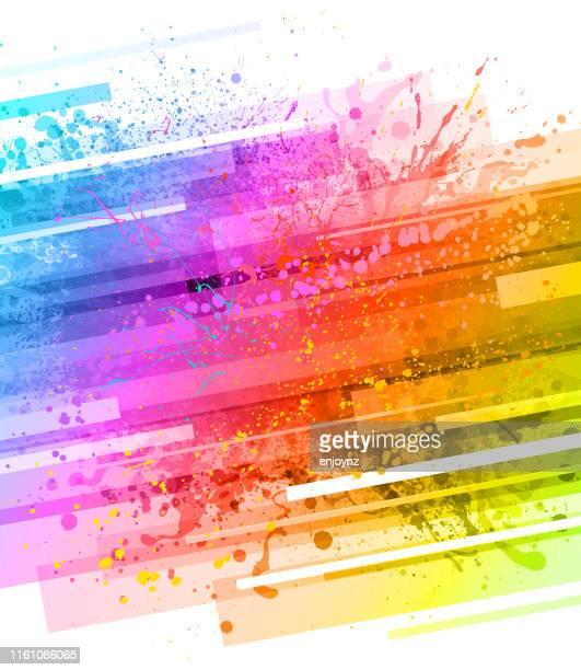 rainbow paint splash background - splashing droplet stock illustrations, clip art, cartoons, & icons