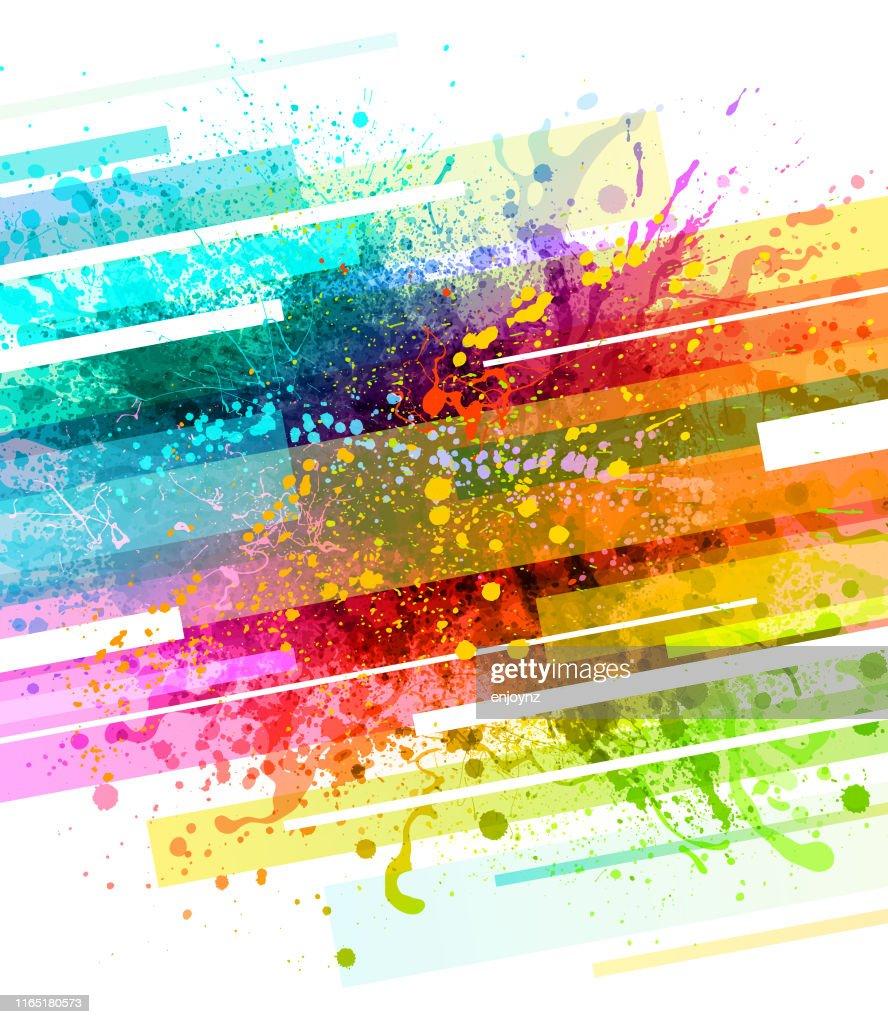 Regenbogen Farbe Spritzer Hintergrund : Stock-Illustration