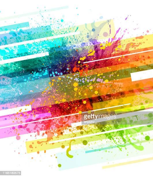 illustrazioni stock, clip art, cartoni animati e icone di tendenza di sfondo iniziale della vernice arcobaleno - acquerello su carta