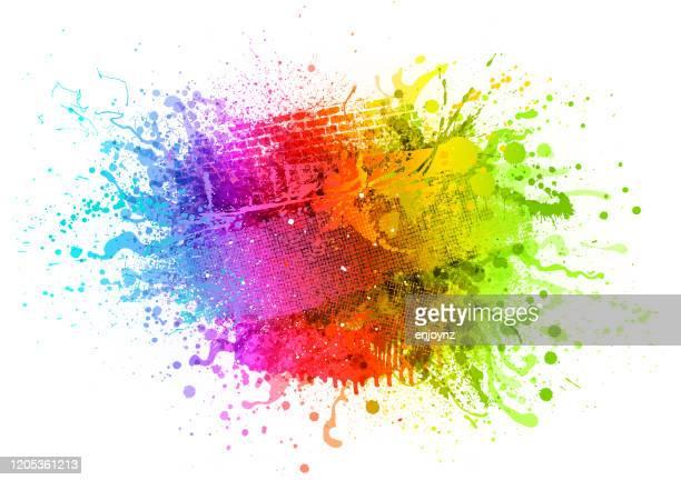 regenbogen farbe spritzer hintergrund - regenbogen stock-grafiken, -clipart, -cartoons und -symbole