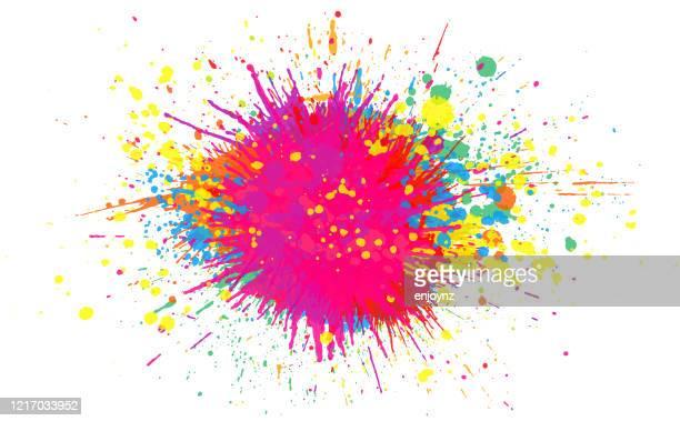虹のペイントスプラッシュ背景 - 飛び散った点のイラスト素材/クリップアート素材/マンガ素材/アイコン素材