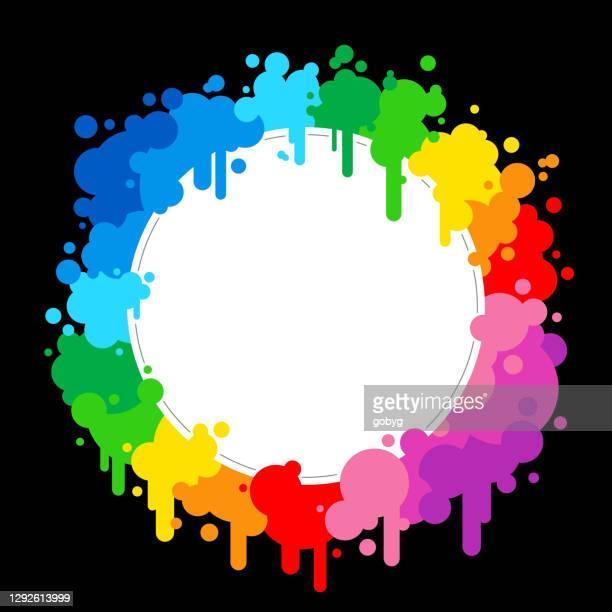 レインボーペイントスプラッシュブランクラウンドフレーム - ゲイ・パレード点のイラスト素材/クリップアート素材/マンガ素材/アイコン素材