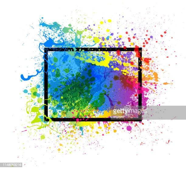 レインボーペイントスプラッシュフレーム - レズビアン点のイラスト素材/クリップアート素材/マンガ素材/アイコン素材