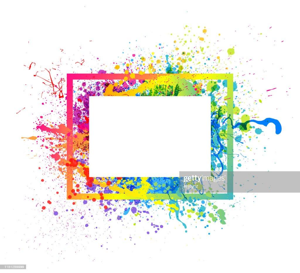 Cornice a spruzzo di vernice arcobaleno : Illustrazione stock