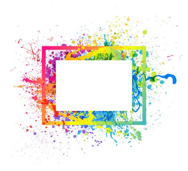 rainbow paint splash frame - rainbow stock illustrations