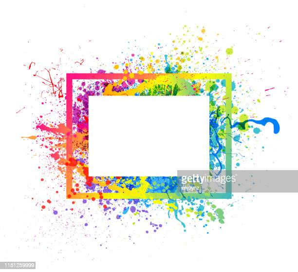rainbow paint splash frame - art stock illustrations