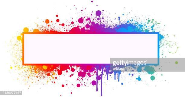 rainbow paint splash frame - colour image stock illustrations