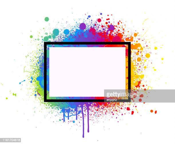 レインボーペイントスプラッシュフレーム - lgbtqiプライドイベント点のイラスト素材/クリップアート素材/マンガ素材/アイコン素材