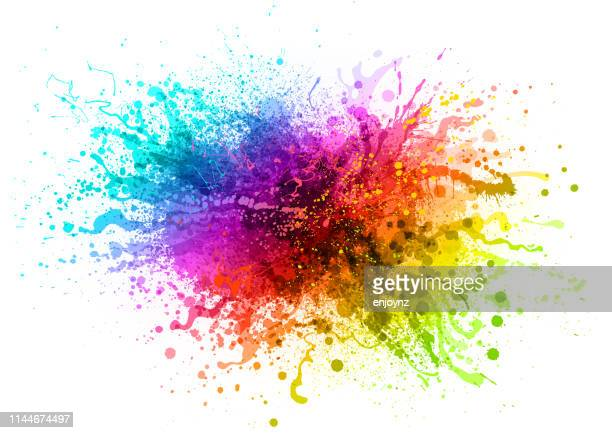 rainbow paint splash - painted image stock illustrations