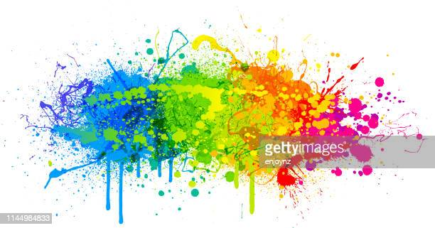 rainbow paint splash - multi coloured stock illustrations