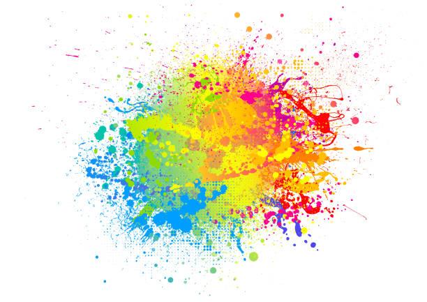 rainbow paint splash - rainbow stock illustrations