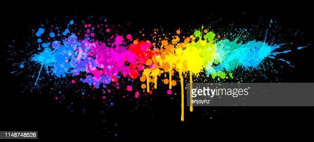 regenbogenfarbe spritzen - farbbild stock-grafiken, -clipart, -cartoons und -symbole