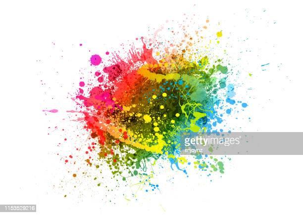 regenbogenfarbe spritzen - farbklecks stock-grafiken, -clipart, -cartoons und -symbole