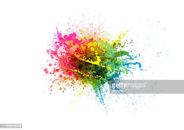 rainbow paint splash - splashing droplet stock illustrations, clip art, cartoons, & icons