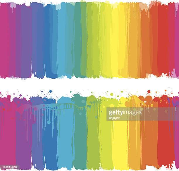 rainbow paint strokes - rainbow stock illustrations, clip art, cartoons, & icons