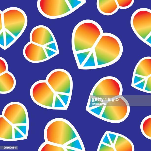 regenbogen frieden zeichen herzen nahtlose muster - soziale gerechtigkeit stock-grafiken, -clipart, -cartoons und -symbole
