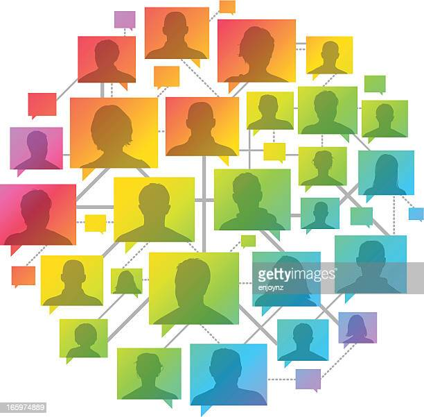 rainbow people network - colors of rainbow in order stock illustrations