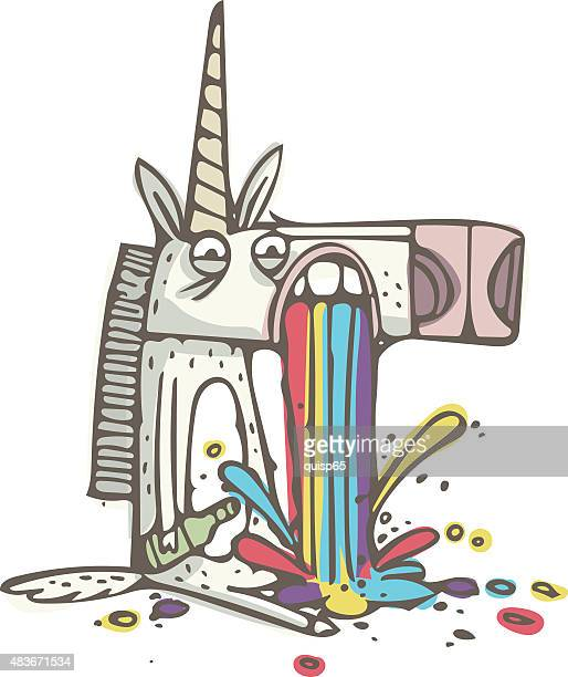illustrations, cliparts, dessins animés et icônes de rainbow puking licorne-doodle - vomit