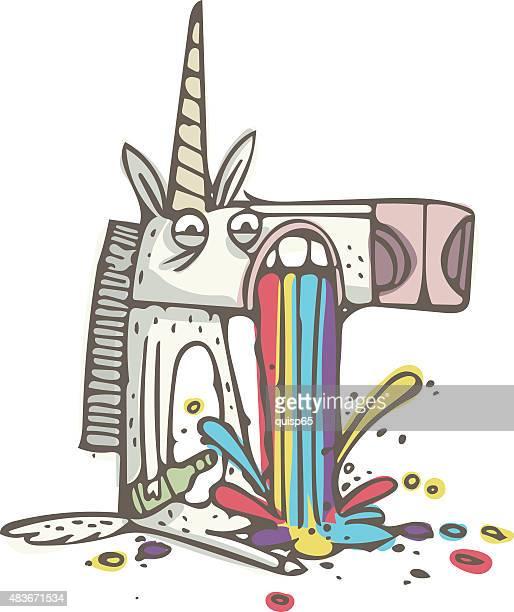 Rainbow Puking Unicorn - Doodle