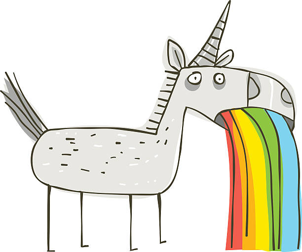 rainbow puking unicorn - unicorn stock illustrations