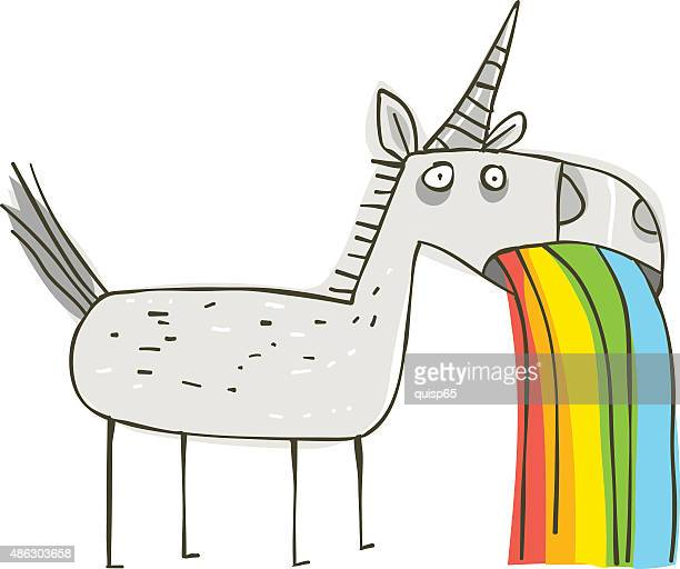 rainbow puking unicorn - unicorn stock illustrations