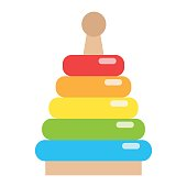 Rainbow pyramid toy flat icon, kid and play, vector graphics, a coloful solid pattern on a white background, eps 10.