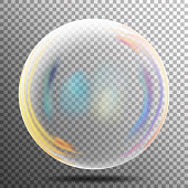 Rainbow Reflection Soap Bubble. Big Transparent Glass Rainbow Bubble With shadow. Vector Illustration