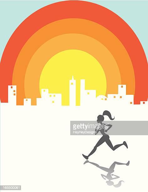 rainbow run - women's track stock illustrations, clip art, cartoons, & icons