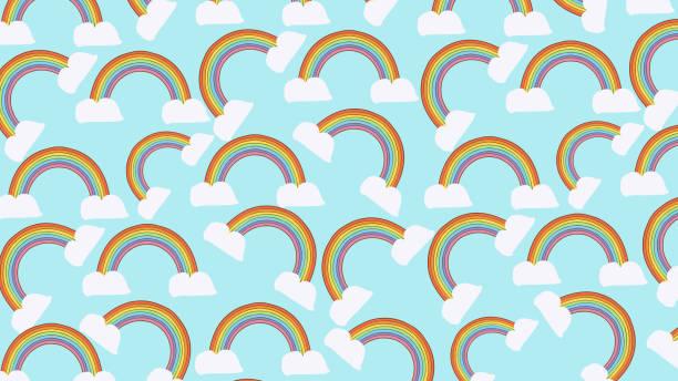 rainbow seamless pattern background - unicorn stock illustrations
