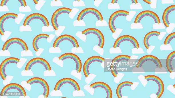 rainbow seamless pattern background - unicorn stock illustrations