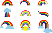 Rainbow set isolated on white background. Multicolored stripes light arch icons vector illustration