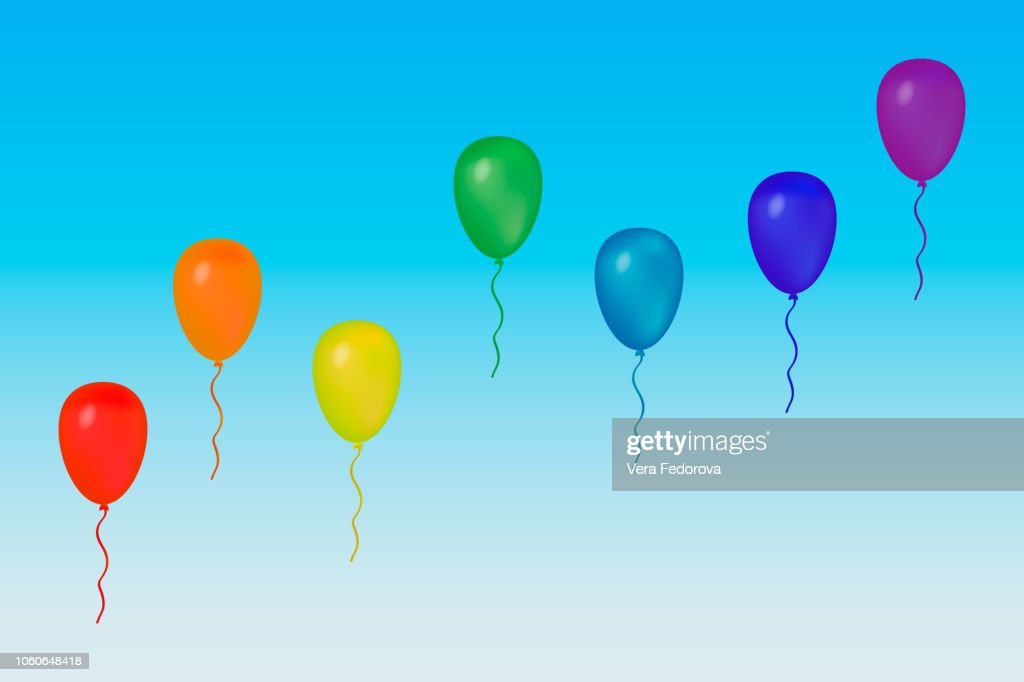 Rainbow set of balloons for your projects.
