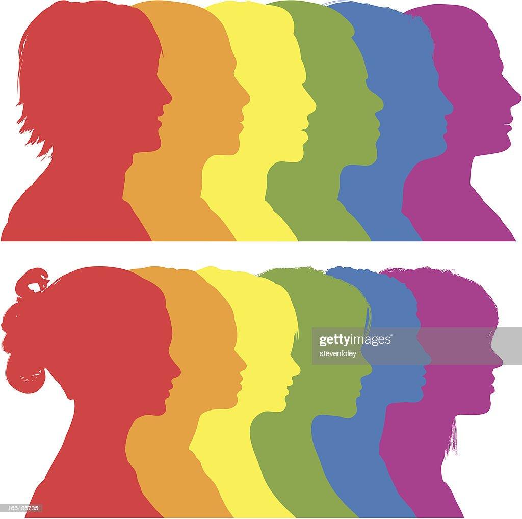 Rainbow Silhouettes : stock illustration