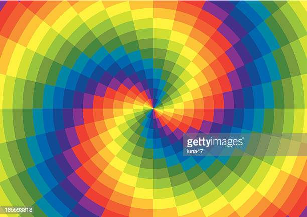 rainbow spiral polar grid - tie dye stock illustrations
