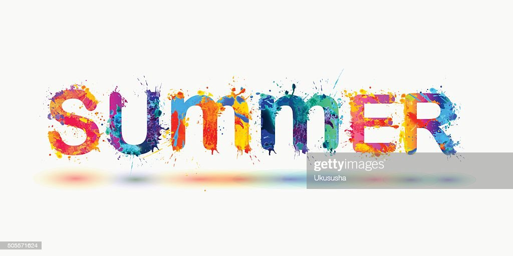 SUMMER. Rainbow splash paint word