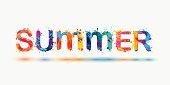 SUMMER. Rainbow splash paint word