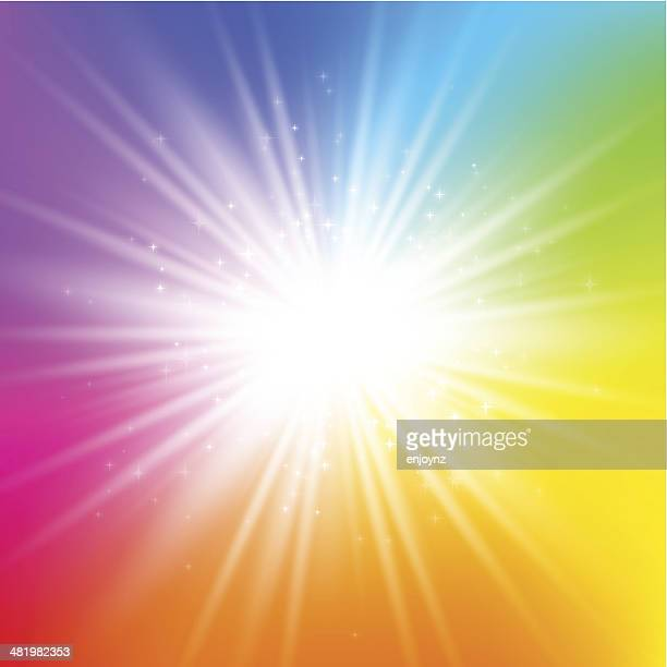 rainbow starburst background - rainbow stock illustrations, clip art, cartoons, & icons