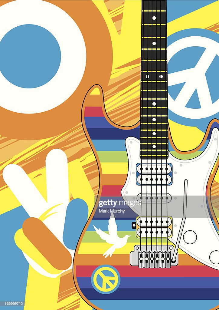 Rainbow Stripe Hippie Guitar