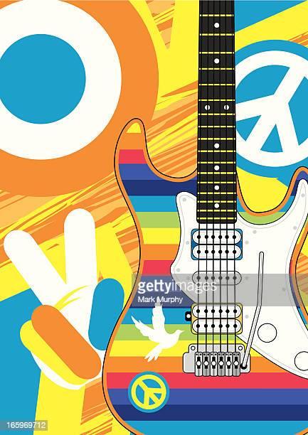 Arco-íris Stripe Hippy Guitarra