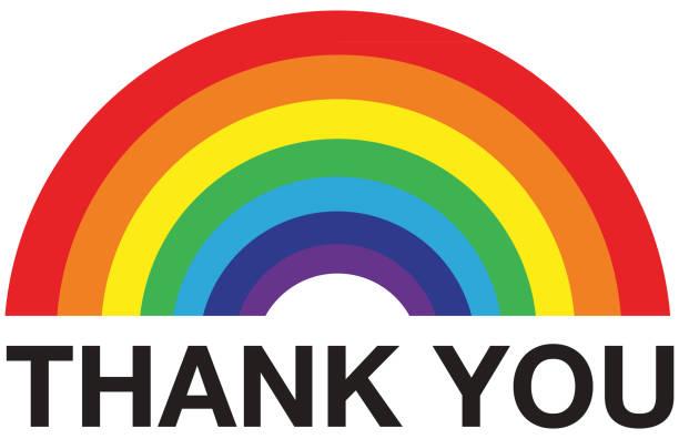 rainbow thank you - rainbow stock illustrations