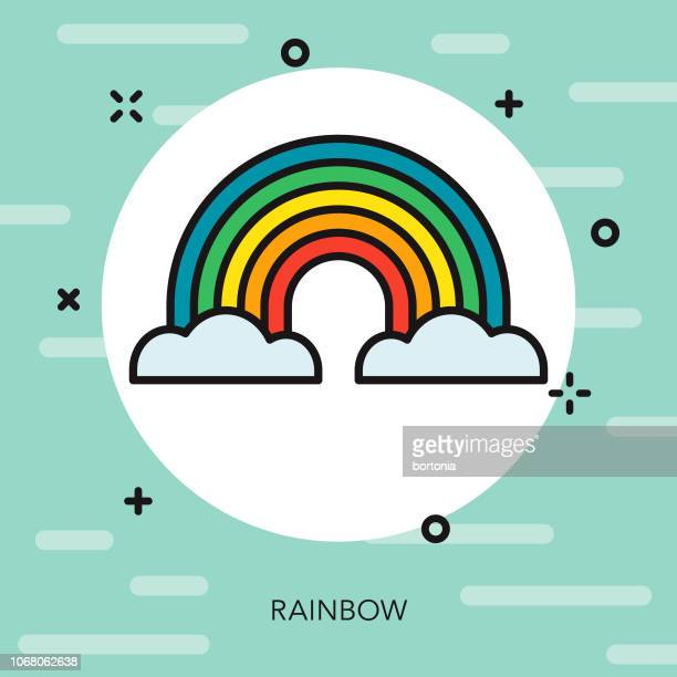 rainbow thin line spring icon - march month stock illustrations