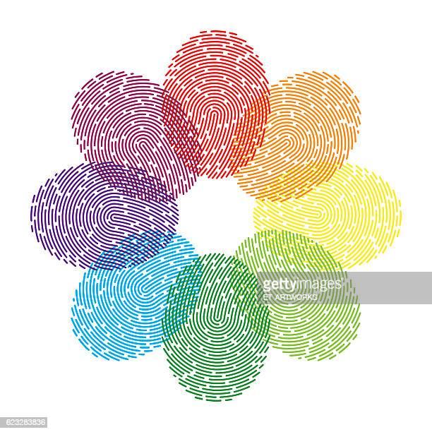 ilustraciones, imágenes clip art, dibujos animados e iconos de stock de rainbow thumbprint - huella dactilar