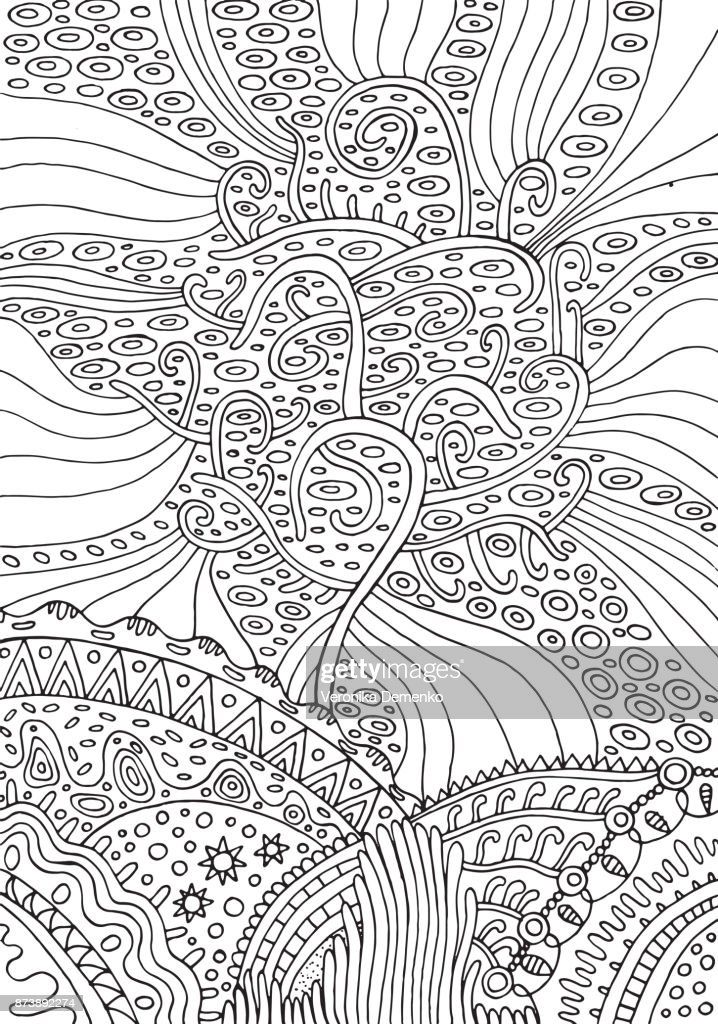 Rainbow tree of life. Surreal fantasy psuchedelic coloring page for adults. Vector illustration.